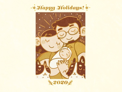 Holidays 2020 design illustration cats baby family portrait postcard holiday christmas family