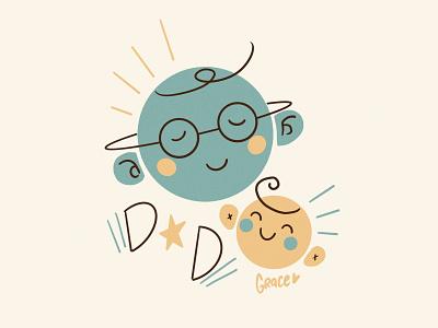 Happy Papa characters illustration