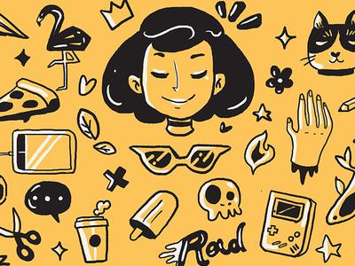 Personal Makeup pattern stuff cats rad girl design web portrait self banner