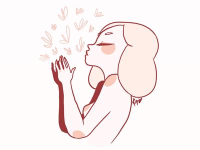 Breathe characters design pastels soft girl illustration breathing