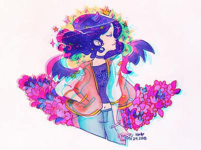ThirtyOne anaglyph design pop colors technicolor girl 31 portrait birthday