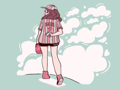 BabesBall character design babe illustration girl pitcher baseball