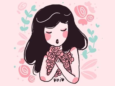 Florecitas characters design leaves flores girl woman illustration flowers