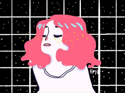 Black ruled design grid illustration melancholy girl