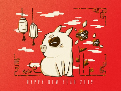 Pig Out 2019 illustration happy new year chinese new year pig piggy