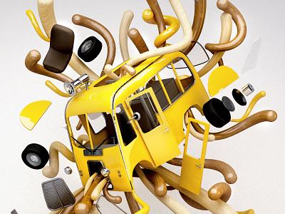 Bolder Creative - Exploding Car explosion exploding car vibrant contemporary 3d mograph boldercreative wearebolder