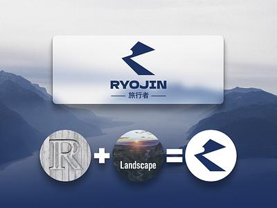 Ryojin (traveler) design icon typography vector branding logo