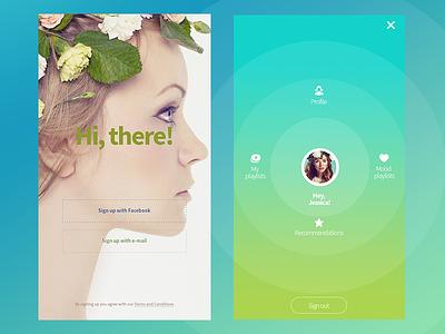 Music UI Kit - Login and User Menu widget playlist headphones spring music webdesign ux ui kit ui