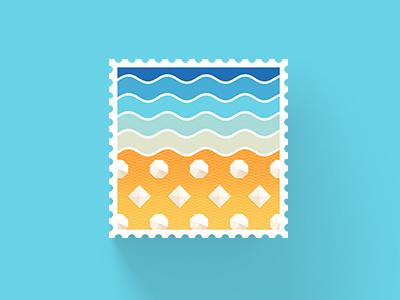 Explore Freedom stamp beach pattern summer waves stamp