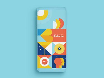 Bucharest City App Splashscreen colorful patterns mobile splashscreen app identity