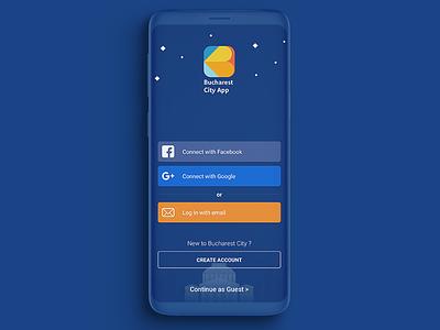 Bucharest City App Login screen colorful identity mobile screen app login