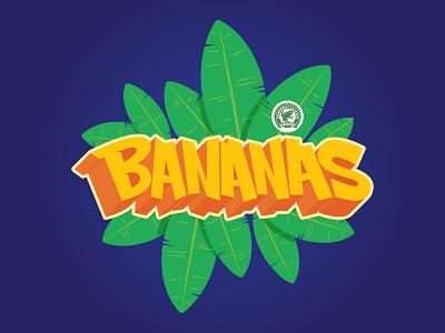 Bananas Lettering Illustration graffiti digital graffiti art illustration art 3d letters lettering yellow digital illustration digital graffiti graffiti hand lettering handlettering illustration illustrator banana leaf tropical leaves rainforest tropical bananas banana