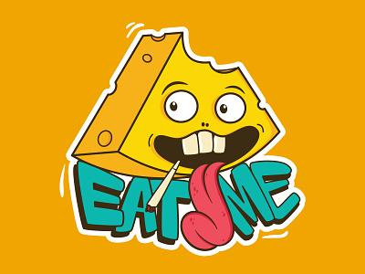 Eat Me - Cheese Illustration graffiti digital vector graffiti art design yellow sticker hand lettering lettering graffiti eatme smoking illustrations illustrator illustration cheese