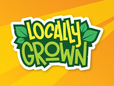 Locally Grown Food Sticker vector handlettering badge food leafs leaf lettering illustrator illustration design sticker organic food organic product bio green grown local locally grown