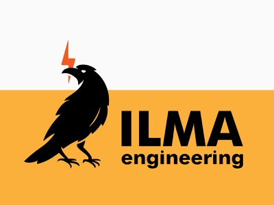 ILMA engineering logo design vector simple logo logodesign logotype electrician electricity electric crow raven design logo