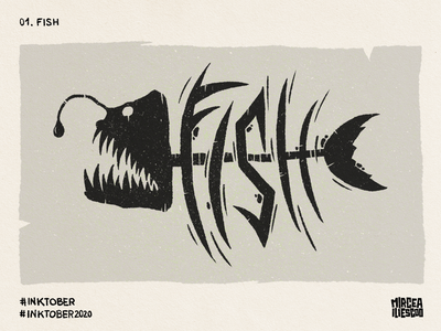 Inktober - 01. Fish digitallettering digitalart ink digitalillustration art angler fish fish illustrator lettering illustration inktober2020 inktober