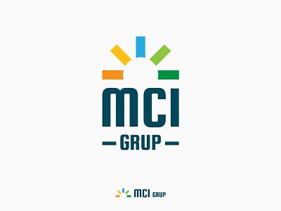 MCI Grup logo responsive solar panels sun lines visual identity vector logo design geometric minimalist simple logo simple design solar branding logo