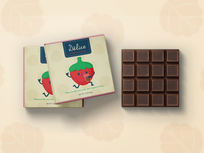 Chocolate Packaging Design cute childrens illustration strawberry chocolate bar