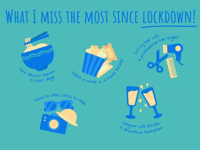 'What I miss the most since lockdown' icons drinks travel hairdresser popcorn ramen illustration icon set