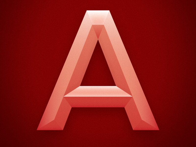 The Letter A a letter block type red pink gradient shadow