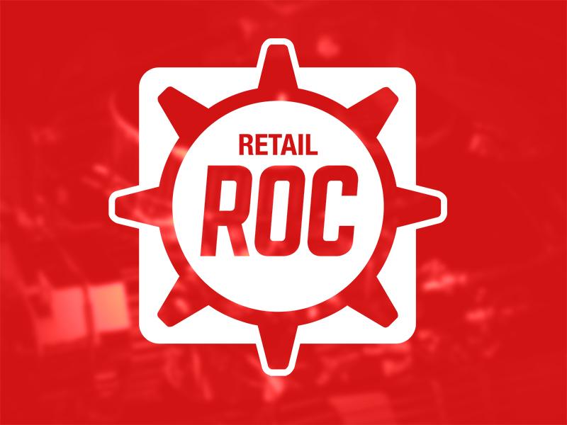 ROC Logo  logo red white gear brand automotive flat texture