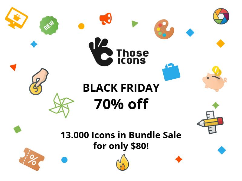 Those Icons on Black Friday Sale material flat color outline color glyph line sale web icons bundle icon