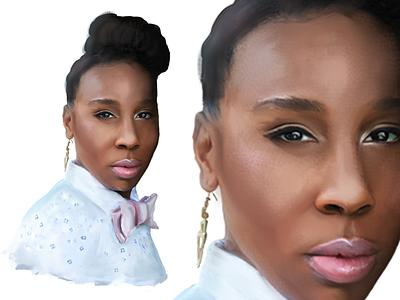 Lena profile portrait debut painting