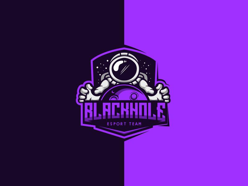 Blackhole esport design branding character illustration galaxy astronomy moon esports mascot logo spaceship space blackhole astronaut