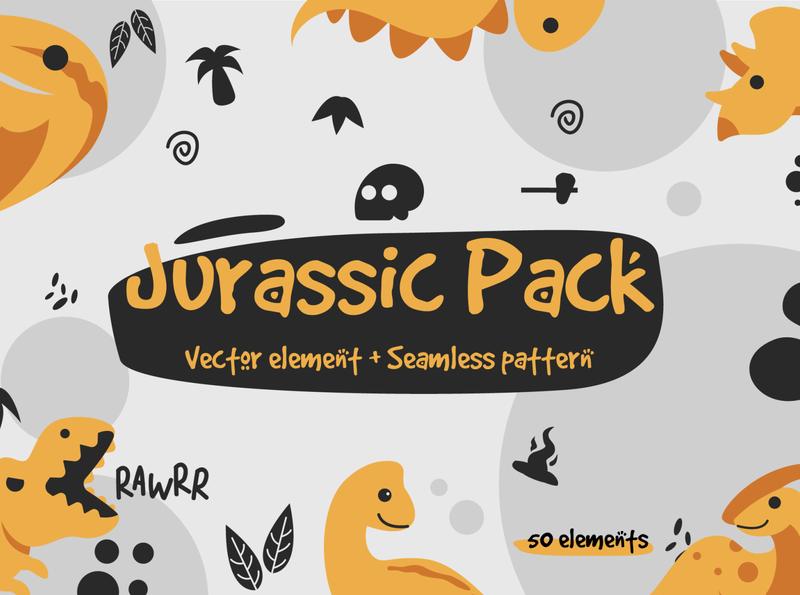Jurassic Pack element & pattern on sale ! element pattern minimalism caveman fossil prehistoric dinosaur minimal character web flat app ui vector branding design cute illustration