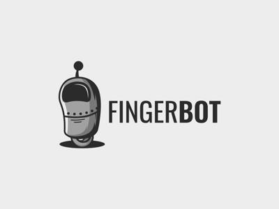 fingerbot icon retro robot vector design illustration character cute mascot logo