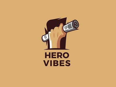 Hero vibes typography icon branding vector design illustration logo newspaper hero