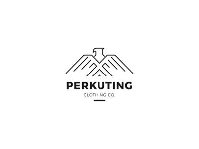 Perkuting clothing icon branding vector design illustration mascot monoline logo eagle logo eagle