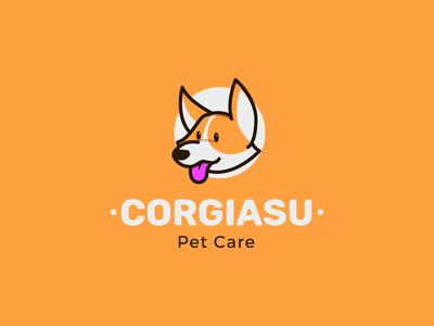 corgiasu pet care vector design character icon illustration cute mascot logo pet dog corgi