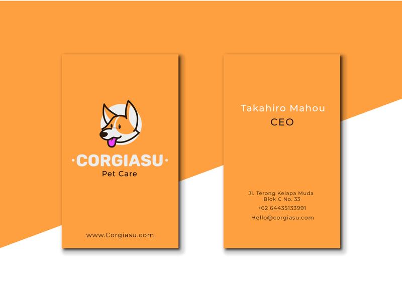 corgiasu business card identity corgi dog branding icon character design illustration cute mascot logo