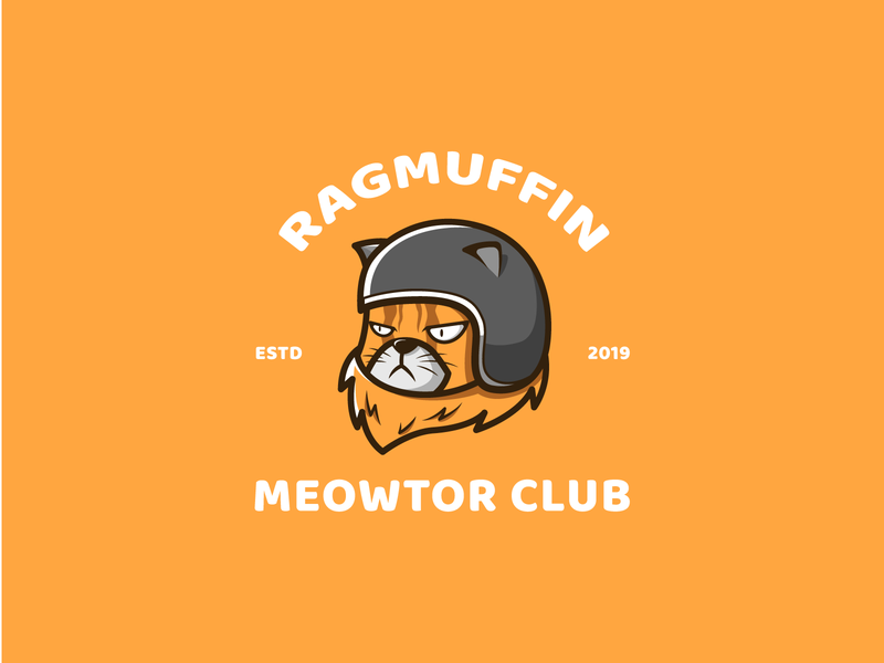 ragmuffin meowtor club branding icon character illustration mascot logo cute motorbike cat