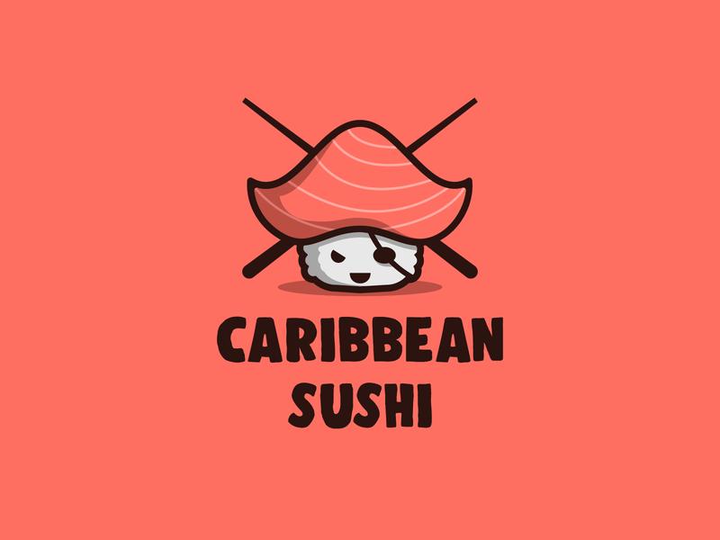 Caribbean Sushi design character branding icon illustration cute mascot logo sushi roll japanese pirate sushi