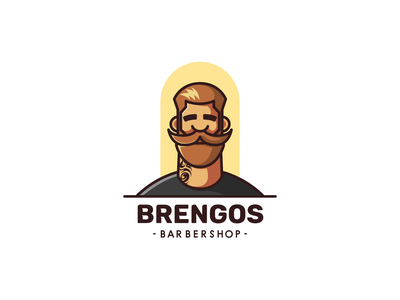 brengos barbershop branding icon design character illustration logo mascot tattoo barber barber logo barber shop moustache