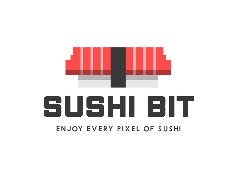 sushi bit restaurant branding icon design cute mascot logo sushi roll pixel sushi