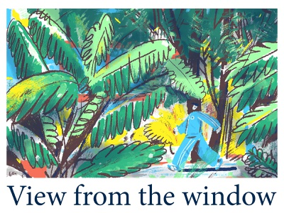 View from the window character design view windows color work drawing person illustration