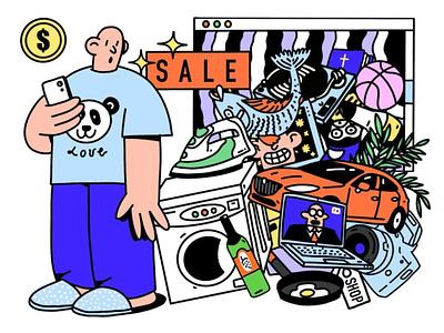 Покупки в онлайне 2020 procreate web money website online shop product trash person work abstract character design illustration ukraine