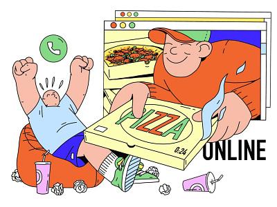 Ура! Ко мне приехала еда 2020 pizza ukraine web website procreate abstract delivery office work online food character design illustration