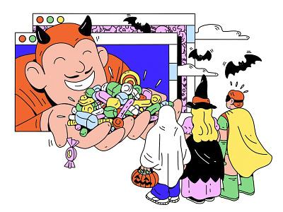 Halloween treats for kids treats kids children halloween website work person illustration character design