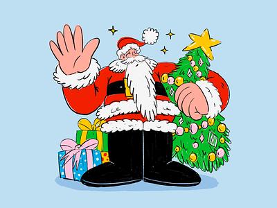 Весёлых праздников! newyear santaclaus web person work drawing ukraine office character design character illustration