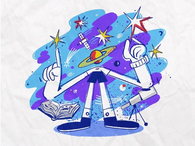 Изучай космос 2021 office planets stars cosmos person website drawing color abstract work character illustration