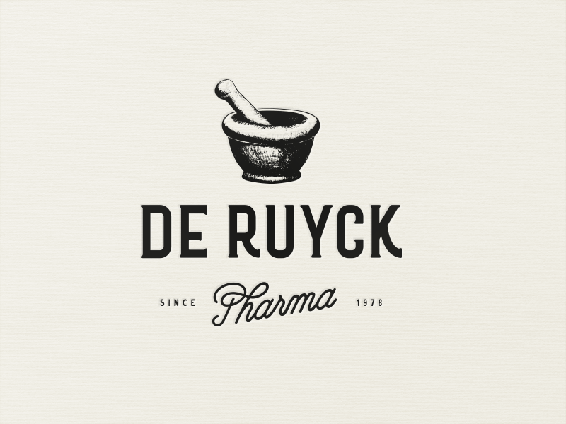 mortar and pestle retro vintage logo design