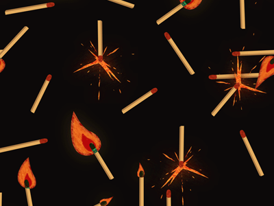 Matches Kit #2 adobe aftereffects allumettes matches loop design graphic illustration spark fire pattern