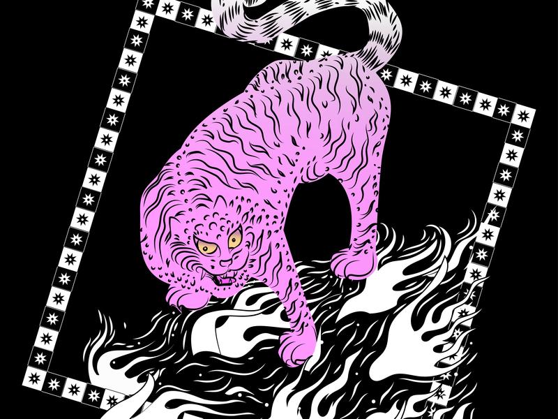 Tiger on fire 2d art star asian pattern design adobe pattern flame tatoo vector artwork illustration illustraor pink sketch tiger doodle