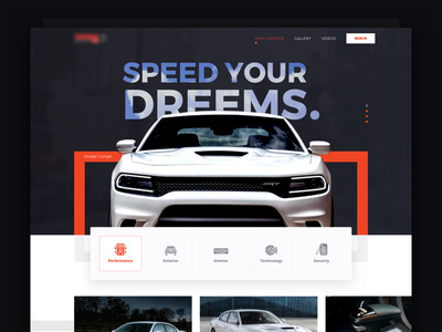 Speed Your Dreems - Lading Page auto car red black web ux ui landing