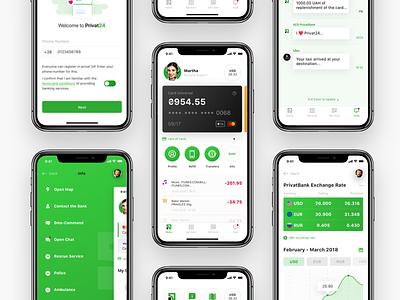 Privat Bank Mobile App Design Concept. privat bank mobile ios interface clean ux ui finance money app bank