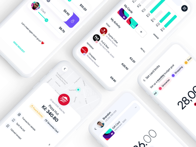 Digital Wallet mockup shop receipt social shopping mobile application app payment ui  ux split bill white clay card money transfer money fintech wallet screens animation